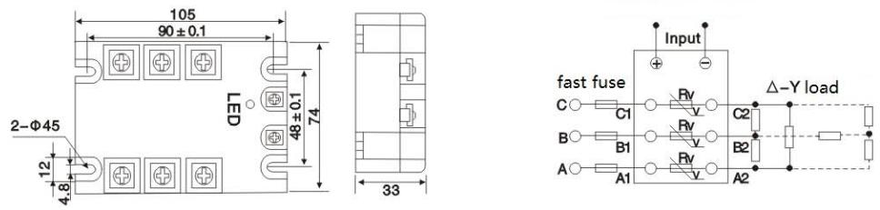 outline dimensions & wiring diagram: